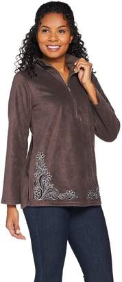 Bob Mackie Botanical Hem Embroidery Fleece Pull-Over