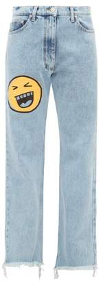 Natasha Zinko Face Print Straight Leg Jeans - Womens - Denim Multi