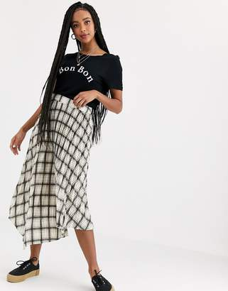 Miss Selfridge pleated skirt in check