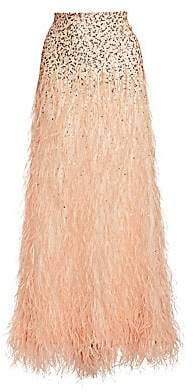 Alice + Olivia Women's Ashton Sequin & Feather Skirt