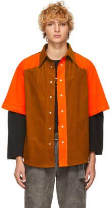 St-Henri SSENSE Exclusive Orange and Tan Corduroy Shirt