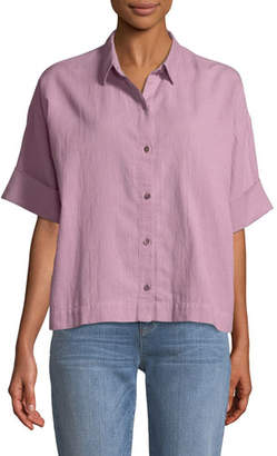 Eileen Fisher Boxy Cotton Crepe Shirt