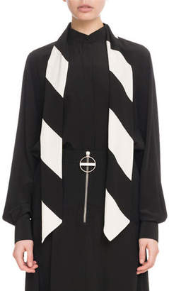Givenchy Long-Sleeve Button-Front Silk Blouse with Striped Detachable Scarf