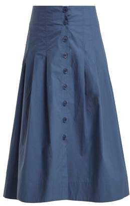 Sea Calah High Rise Cotton Midi Skirt - Womens - Blue
