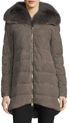Herno Zip-Front Quilted Puffer Suede Coat w/ Fur Collar