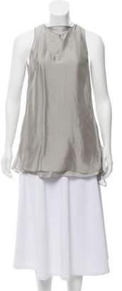 Brunello Cucinelli Silk Sleeveless Top Silver Silk Sleeveless Top