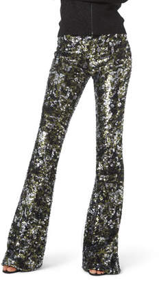 Michael Kors Camo Sequined Flare Pants