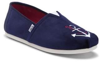Toms Anchor Embroidered Velvet Slip-On Sneaker