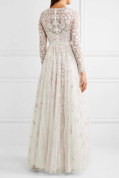 Needle & Thread - Rosette Embellished Embroidered Tulle Gown - Ivory 3