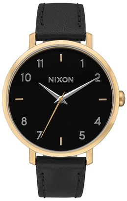 Women's Nixon The Arrow Leather Strap Watch, 38Mm $150 thestylecure.com