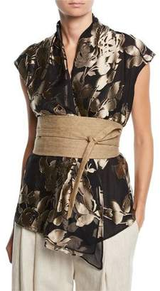 Brunello Cucinelli Sleeveless Foiled Floral Blouse w/ Canvas Belt