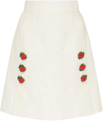 Dolce & Gabbana Rose-Embellished Textured Jacquard Mini Skirt