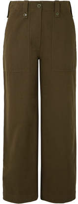 McQ Major Cropped Cotton Wide-leg Pants - Army green