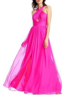 Aidan Mattox Floor-Length Strappy Silk Gown