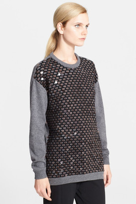 Cedric Charlier Paillette Wool Jacquard Sweater $1,590 thestylecure.com