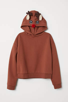 H&M Hooded Top with Appliques - Orange