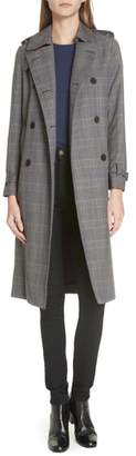 Sandro Long Plaid Coat