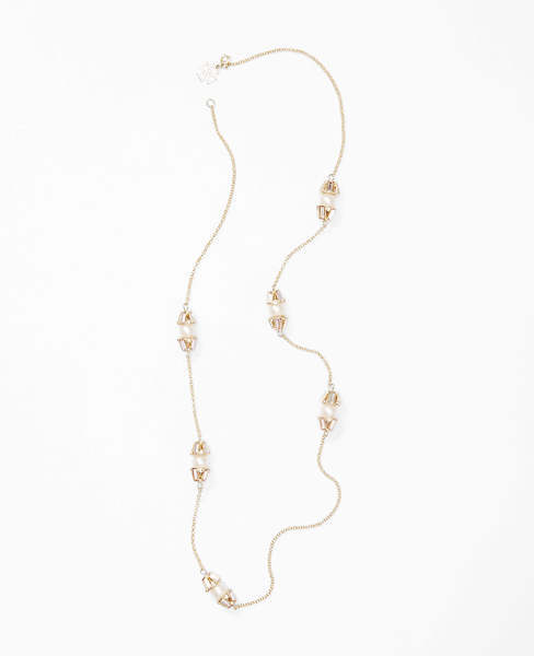 Ann Taylor Pearlized Baguette Delicate Necklace