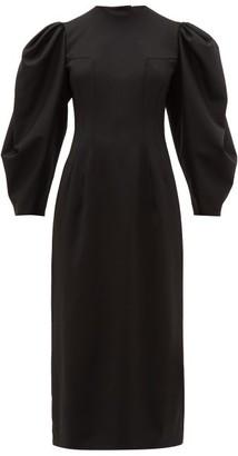 Sara Battaglia Open Back Balloon Sleeve Wool Blend Twill Dress - Womens - Black