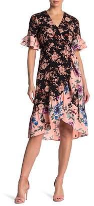 Spense Mixed Print Ruffle Wrap Dress