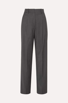 Theory Wool-twill Wide-leg Pants - Dark gray