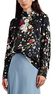 Erdem Women's Florinn Floral Silk Blouse - Black Multi
