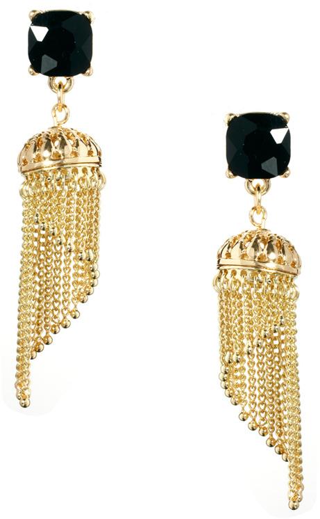 Asos Gemstone Lampshade Tassle Earring