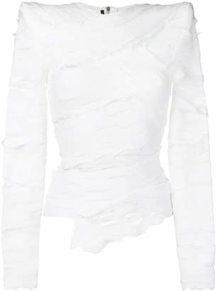 Balmain structured bandage effect blouse