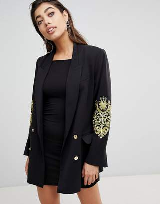 Ivyrevel Double Breasted Blazer with Embroidery at Sleeves