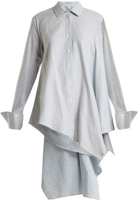Palmer Harding PALMER/HARDING Asymmetric adjustable open-back pinstripe shirt