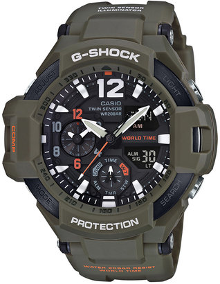G-Shock Men's Analog-Digital Gravity Master Olive Green Resin Strap Watch 50x52mm GA1100KH-3A $250 thestylecure.com