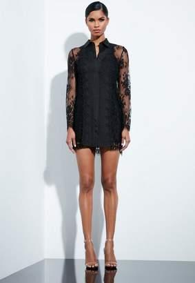 Missguided Black Lace Trim Shirt Dress