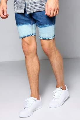 boohoo Skinny Fit Denim Shorts with Bleached Hem