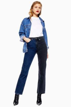 Topshop Womens Blue Black Colour Block Jeans