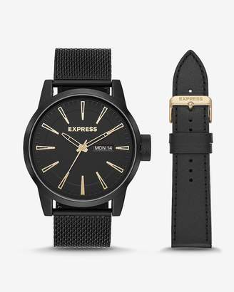 Express Empire Black Mesh Leather Watch Gift Set