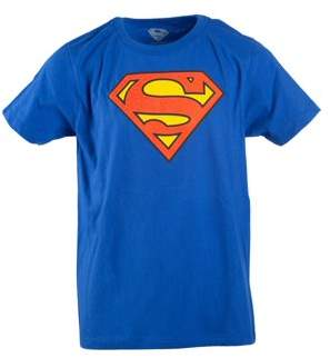 Superman Boy's Royal Blue DC Comics Logo with HD Ink Short Sleeve Tee