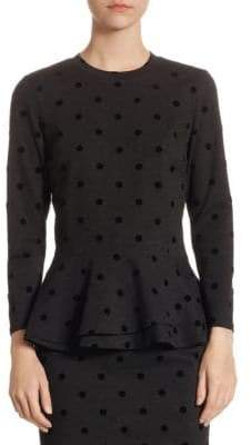 Akris Punto Velvet Dot Peplum Top