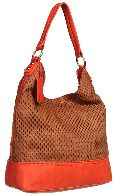Linea Pelle Dylan Colorblock Shoulder (Coffee/Pumpkin) - Bags and Luggage