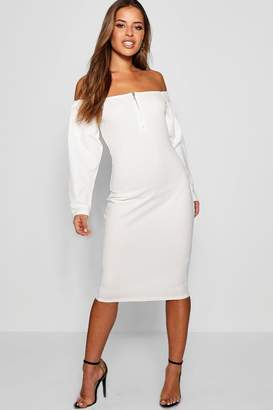 boohoo Petite Payton Long Sleeve Bardot O-Ring Midi Dress
