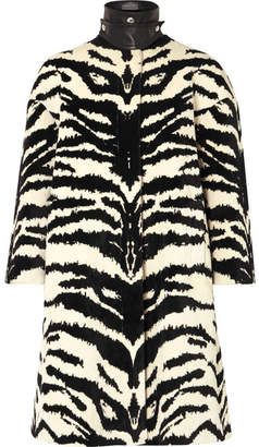 Alexander McQueen Leather-trimmed Zebra-jacquard Coat - Ivory