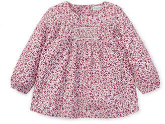 Ralph Lauren Smocked Long-Sleeve Floral Top, Size 6-24 Months
