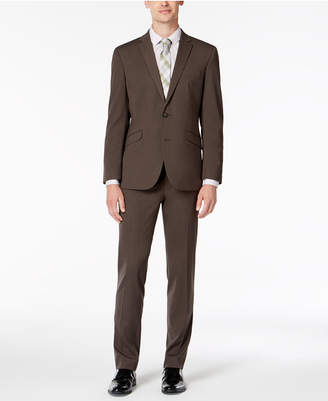 Kenneth Cole Reaction Men Big & Tall Slim-Fit Ready Flex Stretch Medium Brown Solid Suit