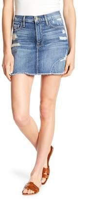 Frame Distressed Mini Denim Skirt