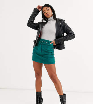 Glamorous Petite mini skirt with belt in faux suede