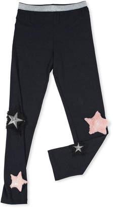 Hannah Banana Stretch Leggings w/ Faux-Fur Star Patches, Size 7-14