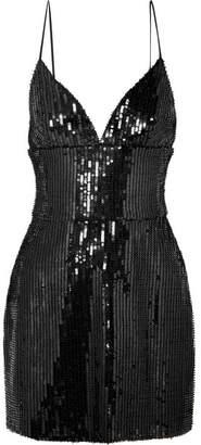 Rasario Sequined Satin Mini Dress - Black