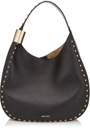 Jimmy Choo STEVIE Black Nappa Leather Shoulder Bag with Star Studs