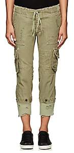 Greg Lauren Women's GL1 Distressed Cotton Cargo Pants - Army