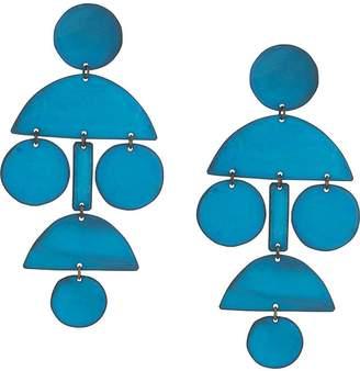 Annie Costello Brown Pom Pom long chandelier earrings
