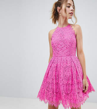 Asos DESIGN Petite Pinny Prom Mini Dress in Lace
